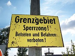 Sign at the Inner German border