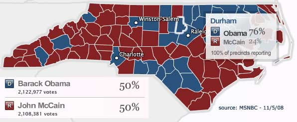 Obama edged out McCain in North Carolina