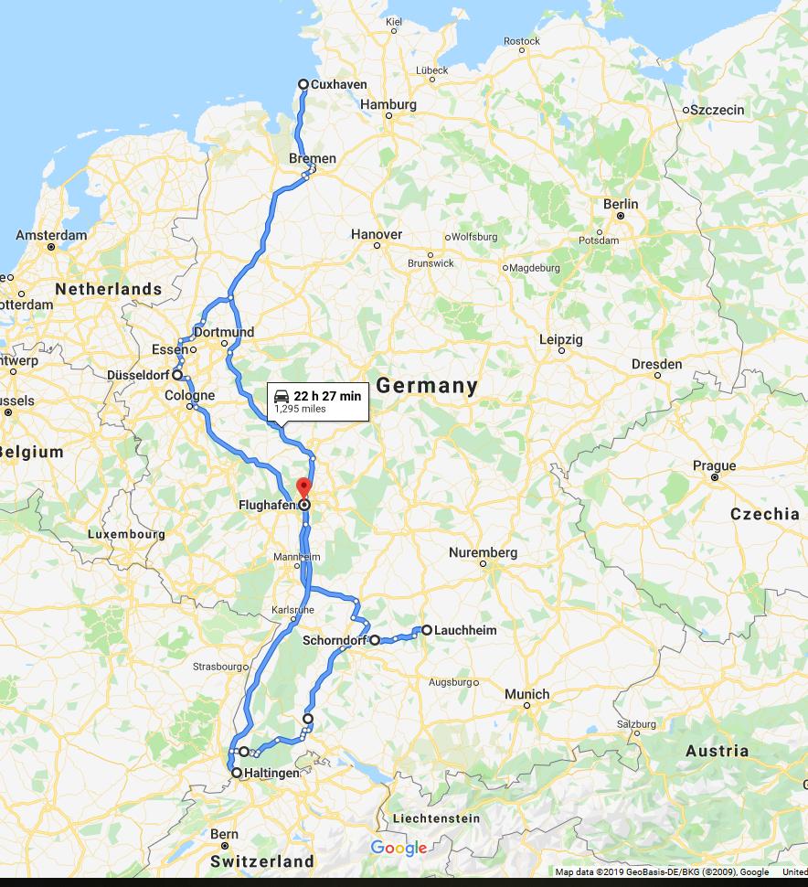 map of the road trip in Germany