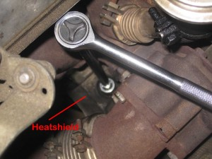 passenger side mount from above with heat shield